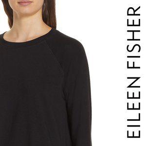 Eileen Fisher Tencel Fleece Top Side Slit Black